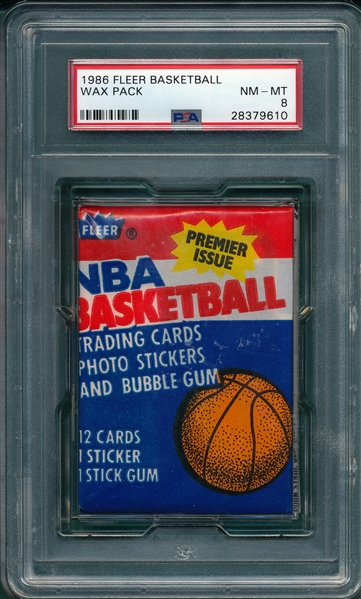 1986-87 Fleer Basketball Unopened Pack PSA 8
