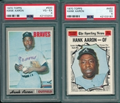1970 Topps #462 Aaron, AS & #500 Hank Aaron, Lot of (2) PSA