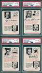 1945 Autograph Game Lot of (15) W/ Tilden PSA 8