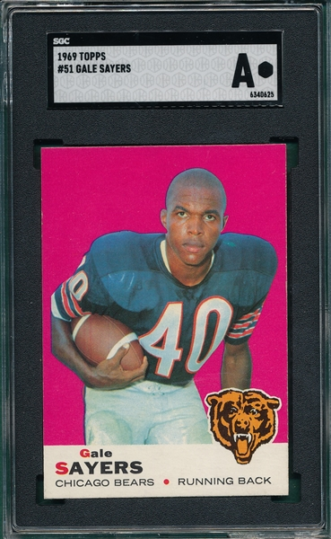 1969 Topps FB #51 Gale Sayers SGC Authentic *NRMT Appearance*