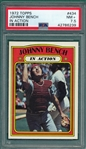 1972 Topps #434 Johnny Bench, IA, PSA 7.5