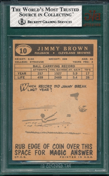 1959 Topps FB #10 Jimmy Brown BVG 7