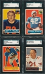 1956/65 FB Lot of (4) W/ 1956 Topps #60 Moore, Rookie, SGC