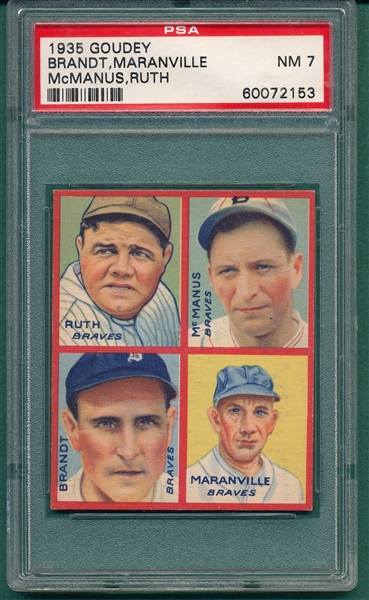 1935 Goudey 4 In 1, W/ Maranville & Babe Ruth PSA 7 *Well Centered*