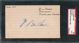 Bill Veeck Signed Index Card SGC Authentic