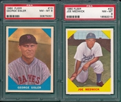 1960 Fleer Baseball Greats #13 Sisler & #22 Medwick, Lot of (2) PSA 8