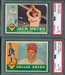 1960 Topps #64 Meyer & #366 Green, Lot of (2), PSA 8