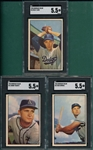 1953 Bowman Color #11 Shantz, #13 Zernial & #14 Loes, Lot of (3) SGC 5.5