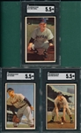 1953 Bowman Color #72 Gray, #112 Atwell & #125 Hatfield, Lot of (3) SGC 5.5