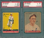 1933 Goudey #11 Rogell & #61 Bishop, Lot of (2), PSA