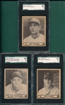 1940 Play Ball #85 Schumacher, #56 Gumbert & #157 Chiozza, *Hi #*, Lot of (3), SGC 60