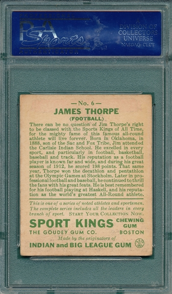 1933 Sports Kings #6 Jim Thorpe PSA 4