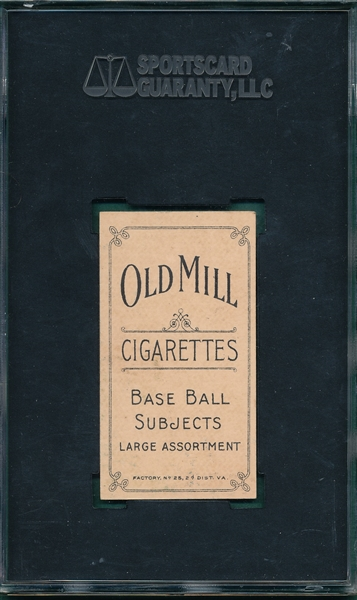 1909-1911 T206 Baker Old Mill Cigarettes SGC 60