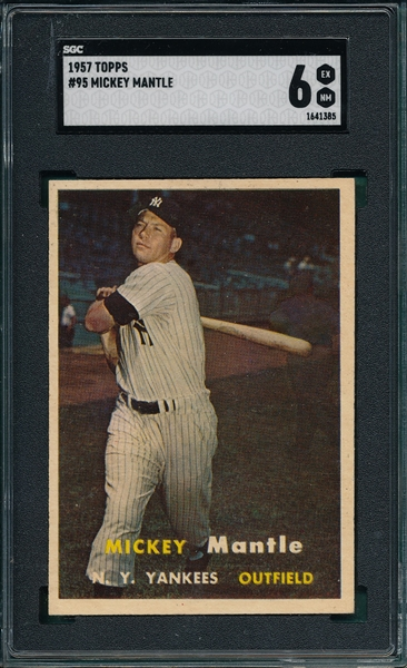 1957 Topps #95 Mickey Mantle SGC 6
