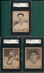 1940 Play Ball #35 Heving, #37 Dickman, & #161 Garms, Lot of (3), SGC 80
