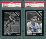 1992 Conlin Collection Bobby Doerr & Bob Feller, Autographed, Lot of (2), PSA Authentic