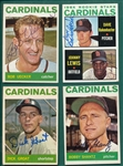 1964 Topps Lot of (14) Autographed Cardinals W/ Uecker