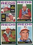 1964 Topps Lot of (14) Autographed Reds W/ Maloney