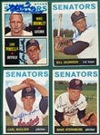 1964 Topps Lot of (18) Autographed Senators W/ Pinella, Rookie