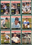 1964 Topps Lot of (9) Autographed Yankees W/ Bouton