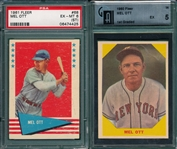 1960 & 61 Fleer Baseball Greats Mel Ott, Lot of (2), PSA