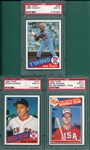 1985 Topps Rookies, McGwire, Clemens & Puckett, Lot of (3) PSA 9 *MINT* *Rookie*