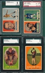 1957-58 Topps Lot of (4) W/ 58 Ringo, Rookie, SGC 84