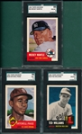 1991 Topps Archives #319 Ted Williams, #220 Paige & #82 Mantle, Lot of (3), SGC