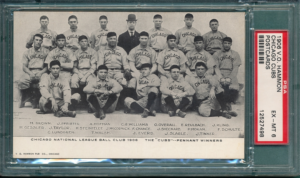 1906 V. O. Hammon PC, Chicago Cubs, PSA 6 *Only One Higher*