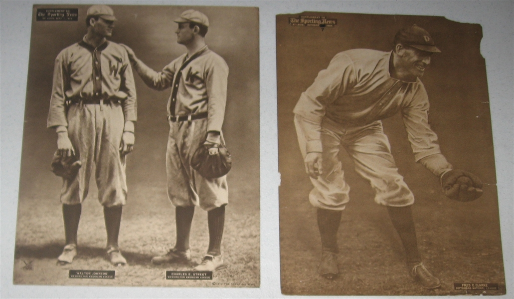 1909-13 M101-2 Fred Clarke & Walter Johnson, Sporting News, Lot of (2)