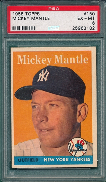 1958 Topps #150 Mickey Mantle PSA 6