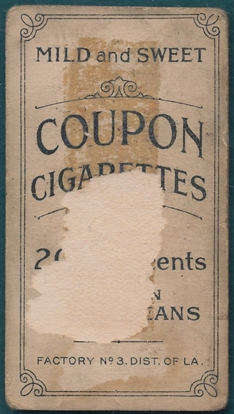 1914 T213-2 Jennings, One Hand Coupon Cigarettes