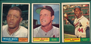 1961 Topps Musial, Mays & Aaron, Lot of (3)