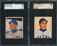 1950 Bowman #195 Cavaretta, No Copyright, & #230 Serena, Lot of (2) SGC