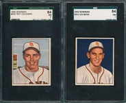 1950 Bowman #250 Coleman & #251 Moss, Lot of (2) SGC 84