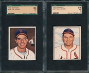 1950 Bowman #207 Lanier & #208 Hearn, Lot of (2) SGC 84