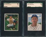 1950 Bowman #157 Guerra & #159 Tipton, Lot of (2) SGC 84