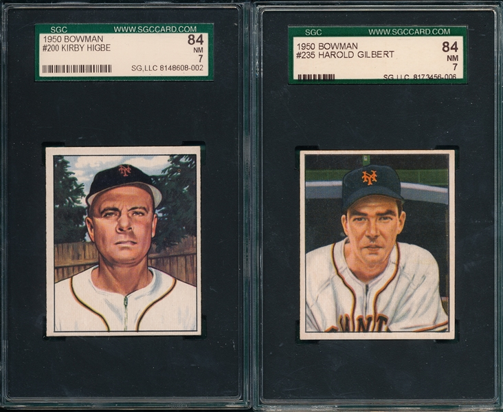 1950 Bowman #200 Higbe & #235 Gilbert, Lot of (2) SGC 84