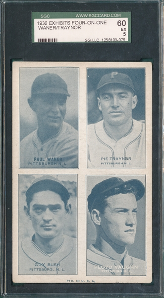 1936 Exhibits 4 On 1, Waner/Traynor/Vaughn, SGC 60
