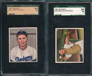 1950 Bowman #165 Edwards & #223 Russell, Lot of (2) SGC 84