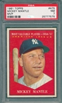 1961 Topps #475 Mickey Mantle, MVP, PSA 7