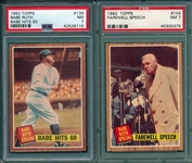 1962 Topps #139 & #144 Babe Ruth Special, Babe Hits 60, Lot of (2), PSA 7