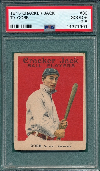 1915 Cracker Jack #30 Ty Cobb PSA 2.5 *Presents Better*