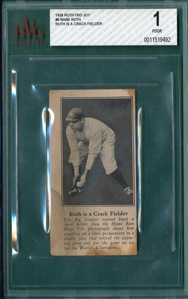 1928 Babe Ruth Fro Joy #6 Ruth Is A Crack Fielder, BVG 1