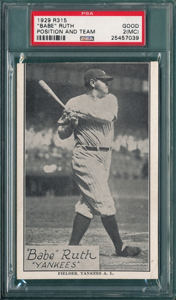 1929 R315 Babe Ruth, Position & Team, PSA 2 (MC)