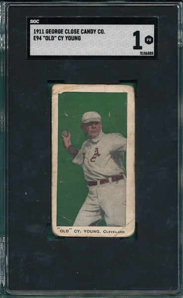 1911 E94 Old Cy Young George Close Candy Co. SGC 1 *Green*