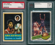 1973/79 Topps BSKT Julius Erving, Lot of (2), PSA