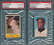 1960/66 Bazooka Willie Mays, Lot of (2), PSA