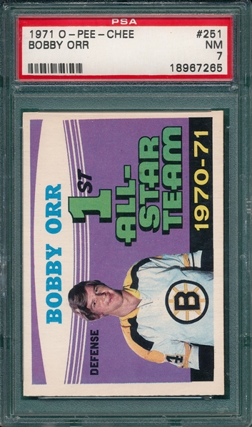 1971 O-Pee-Chee #251 Bobby Orr, All-Star, PSA 7