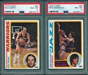 1978 Topps BSKT #60 Barry & #80 Maravich, Lot of (2), PSA 8